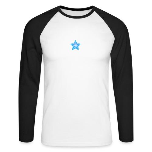 blue themed christmas star 0515 1012 0322 4634 SMU - Men's Long Sleeve Baseball T-Shirt