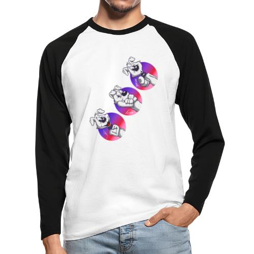 "Comic Hund in Gebärdensprache ""I love you"" - Männer Baseballshirt langarm"