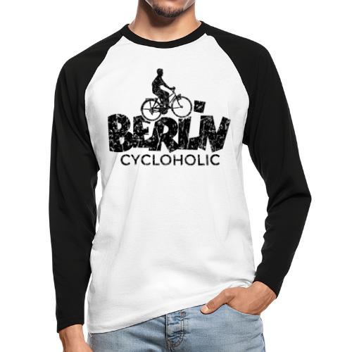 Berlin Cycloholic (Vintage/Schwarz) Fahrradfahrer - Männer Baseballshirt langarm