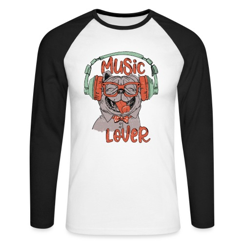 Music Lover - Happy Pug Dog Head Vintage style - Men's Long Sleeve Baseball T-Shirt