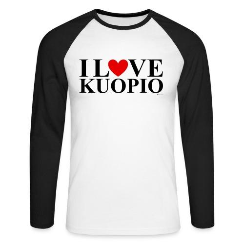 I LOVE KUOPIO (koko teksti, musta) - Miesten pitkähihainen baseballpaita