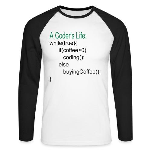 Programmierer Nerd Kaffee Programmieren Spruch - Männer Baseballshirt langarm