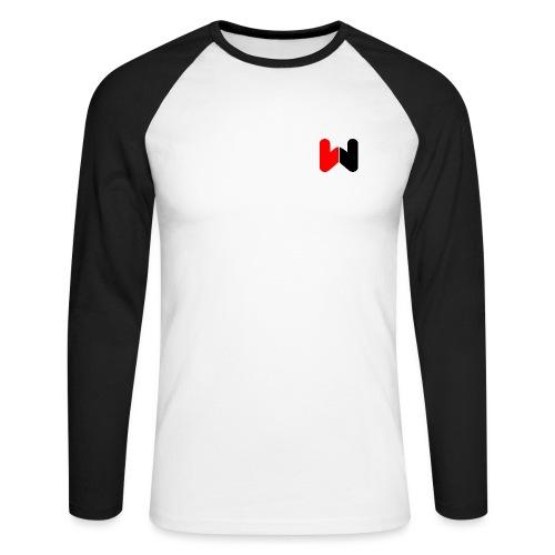 W (Black / Red Logo) - Men's Long Sleeve Baseball T-Shirt