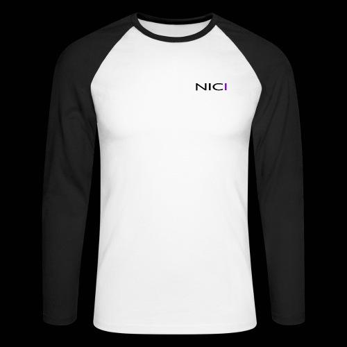 NICI logo Black - Miesten pitkähihainen baseballpaita