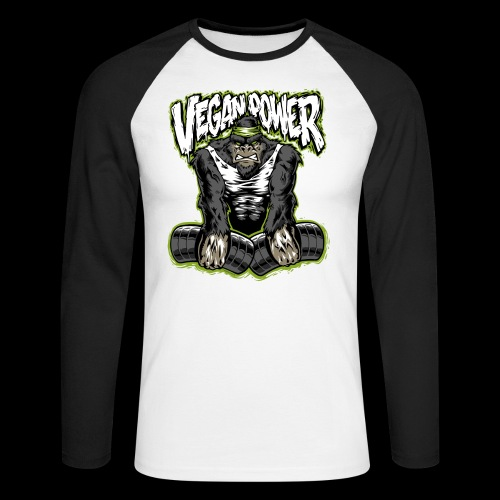 veganpower Muskel Gorilla - Männer Baseballshirt langarm