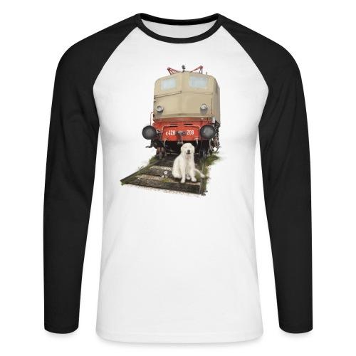 Golden Retriever with Train - Maglia da baseball a manica lunga da uomo