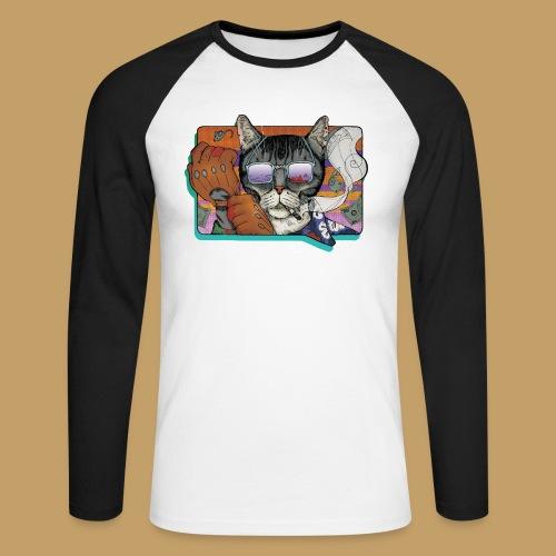 Crime Cat in Shades - Koszulka męska bejsbolowa z długim rękawem