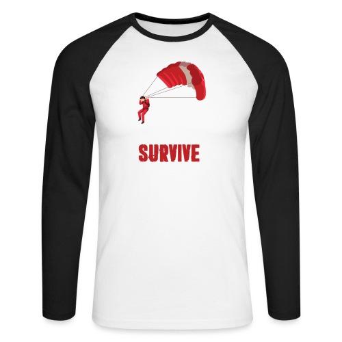 Eat - sleep - SURVIVE - repeat! - Koszulka męska bejsbolowa z długim rękawem