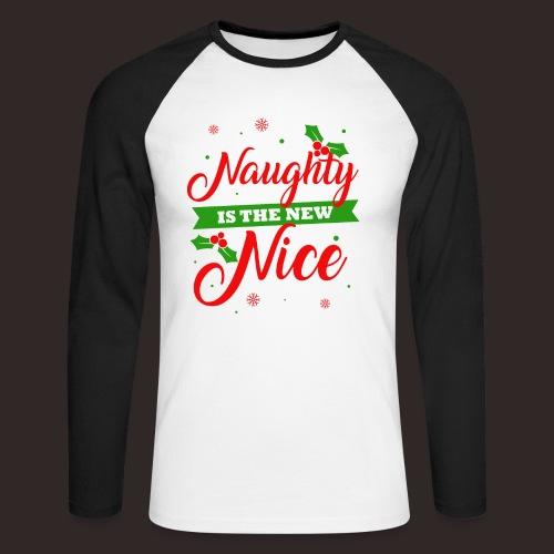 Weihnachten   unartig artig nett - Männer Baseballshirt langarm