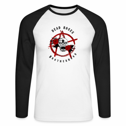 Dead Roses Anarchy Skull Black - Men's Long Sleeve Baseball T-Shirt