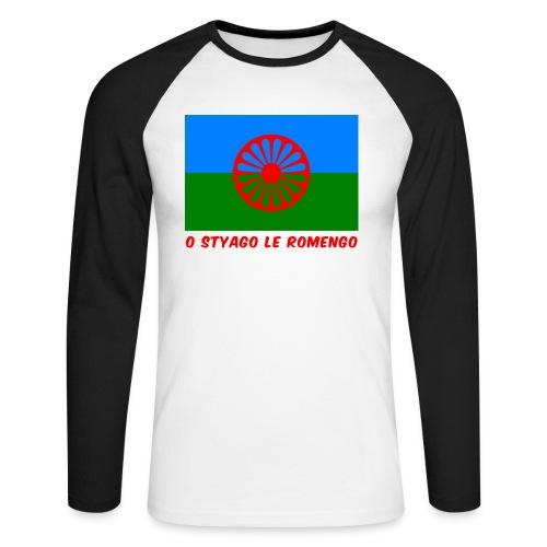o styago le romengo flag of romani people t-shirt - Maglia da baseball a manica lunga da uomo