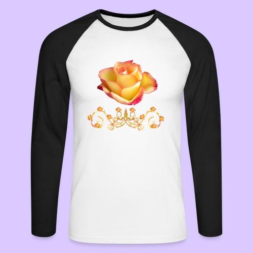orange Rose, Ornament, Rosen, Blumen, Blüten, edel - Männer Baseballshirt langarm