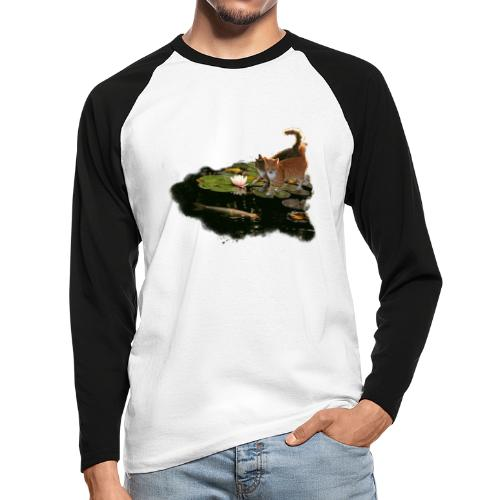 Cats meet Koi - Men's Long Sleeve Baseball T-Shirt