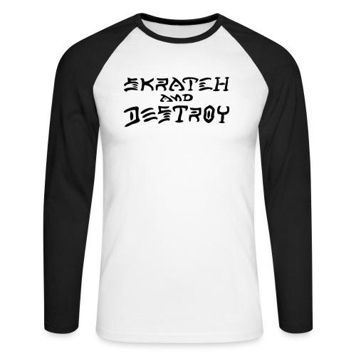 Skratch and Destroy black - Men's Long Sleeve Baseball T-Shirt