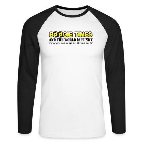 WORLD IS FUNKY ts white - Men's Long Sleeve Baseball T-Shirt