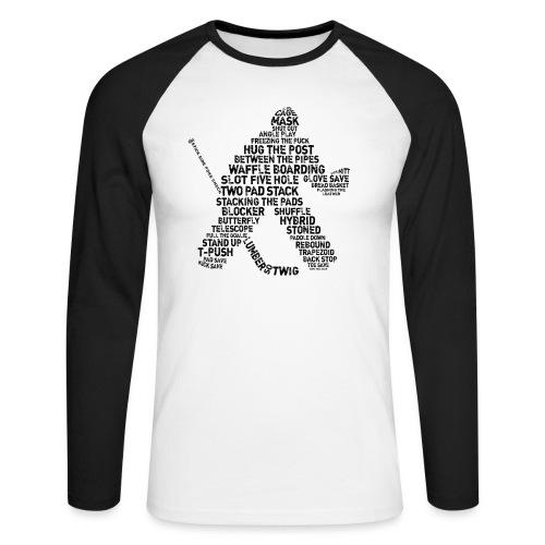 Goalie Lingo - Grunge Text Version (black print) - Men's Long Sleeve Baseball T-Shirt