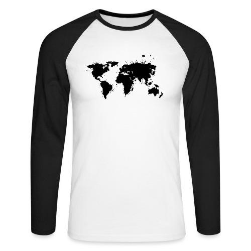Weltkarte Splash - Männer Baseballshirt langarm