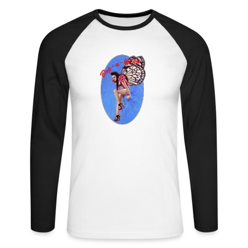 Vintage Rockabilly Butterfly Pin-up Design - Men's Long Sleeve Baseball T-Shirt