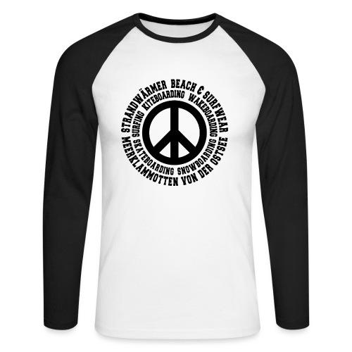 StrandWärmer_Kreis_Peace_schwarz - Männer Baseballshirt langarm