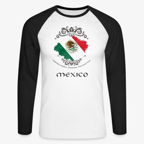 Mexico Vintage Bandera - Männer Baseballshirt langarm