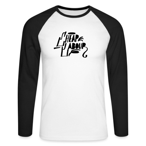 Cheap Labour Basic Logo (Black on White) - Långärmad basebolltröja herr
