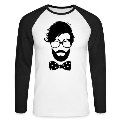 hipster_med_briller_og_butterfly - Langærmet herre-baseballshirt