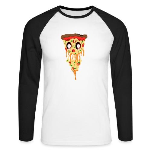 Schockierte Horror Pizza - Männer Baseballshirt langarm