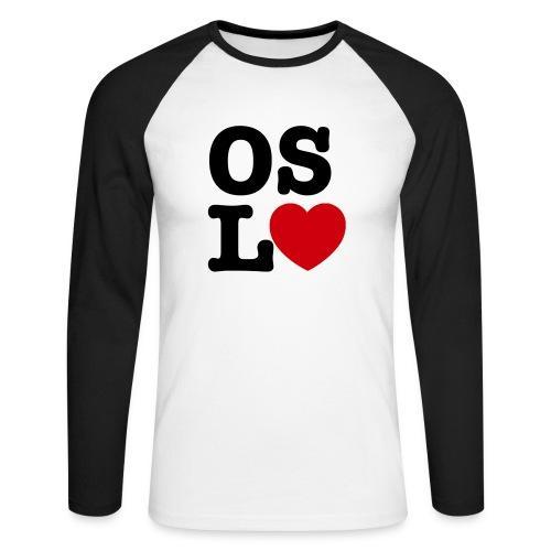 Oslove - OSL♥ - Langermet baseball-skjorte for menn