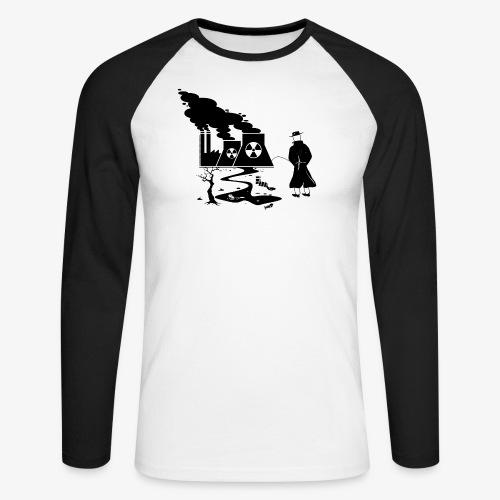 Pissing Man against environmental pollution - Männer Baseballshirt langarm