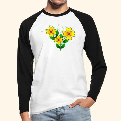 Blumenstrauß mit gelben Blumen, floral, Blüten - Männer Baseballshirt langarm