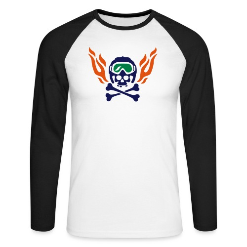 Totenkopf mit Skihelm, Skibrille und Flammen - Männer Baseballshirt langarm