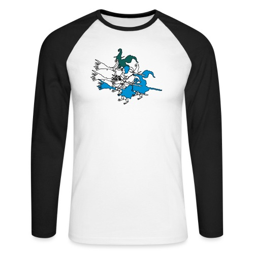 Witches on broomsticks Men's T-Shirt - Men's Long Sleeve Baseball T-Shirt