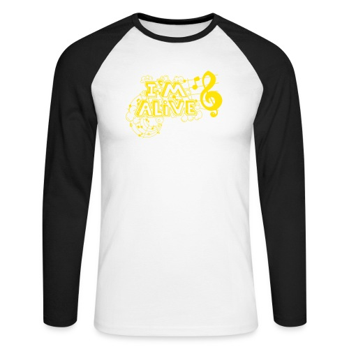 i m alive geel png - Mannen baseballshirt lange mouw