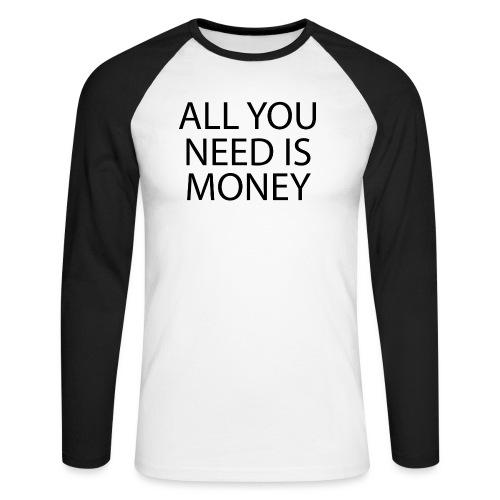 All you need is Money - Langermet baseball-skjorte for menn