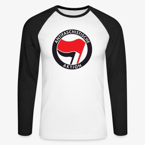 Atnifaschistische Action - Antifa Logo - Men's Long Sleeve Baseball T-Shirt