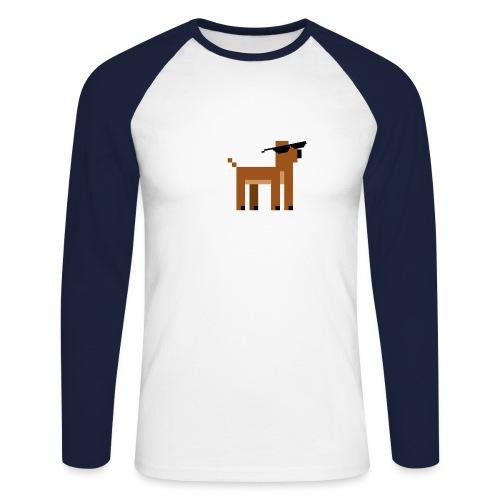 Christmas Xmas Deer Pixel Funny - Men's Long Sleeve Baseball T-Shirt