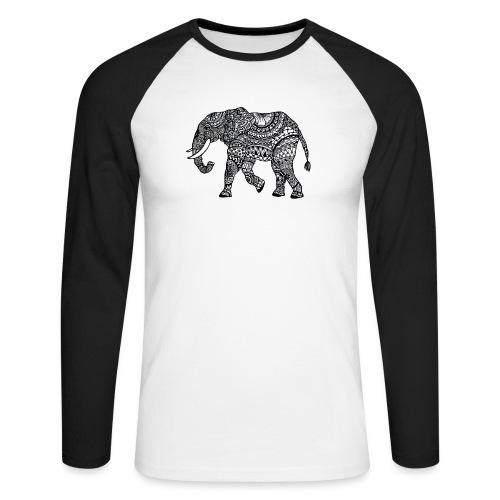 Elefant, gemustert - Männer Baseballshirt langarm
