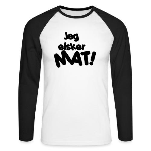 Jeg elsker mat - Langermet baseball-skjorte for menn