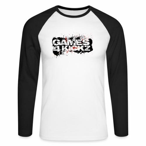 Games4Kickz Logo Splattered Background - Men's Long Sleeve Baseball T-Shirt