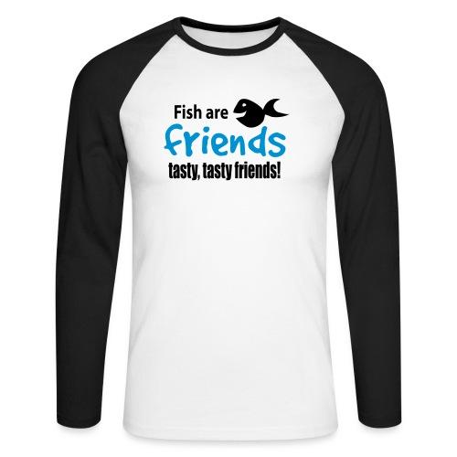 Fisk er venner - Langermet baseball-skjorte for menn