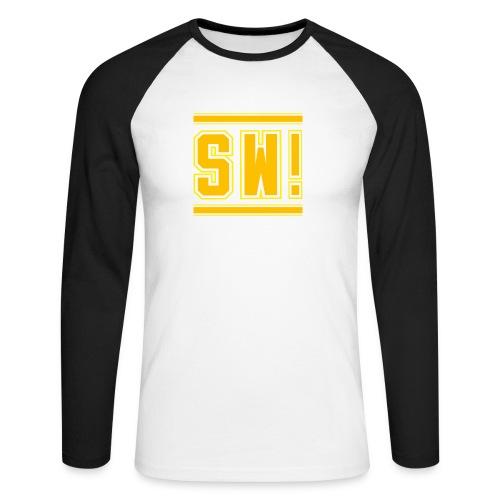 SUPER WANG!, Kontrast Hoodie, schwarz-gelb, mit Lo - Männer Baseballshirt langarm