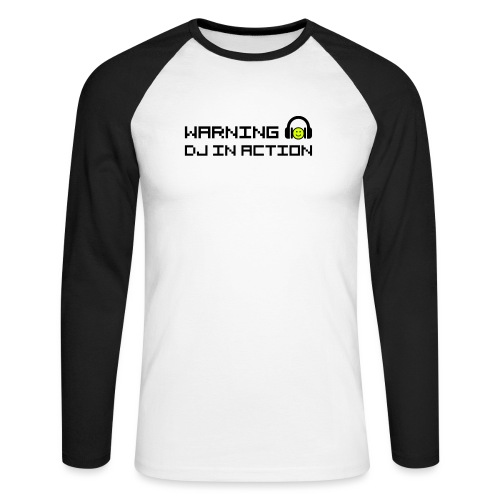 Warning DJ in Action - Mannen baseballshirt lange mouw