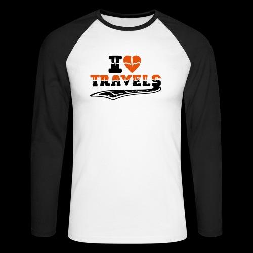 i love travels surprises 2 col - Men's Long Sleeve Baseball T-Shirt