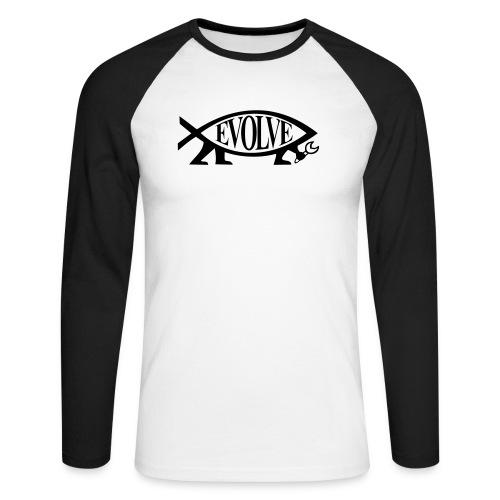 Navy Atheisten Darwin Fish Männer Langarm - Männer Baseballshirt langarm