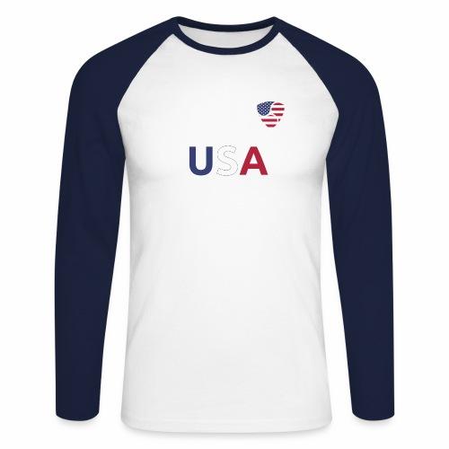 NEM USA white - Maglia da baseball a manica lunga da uomo