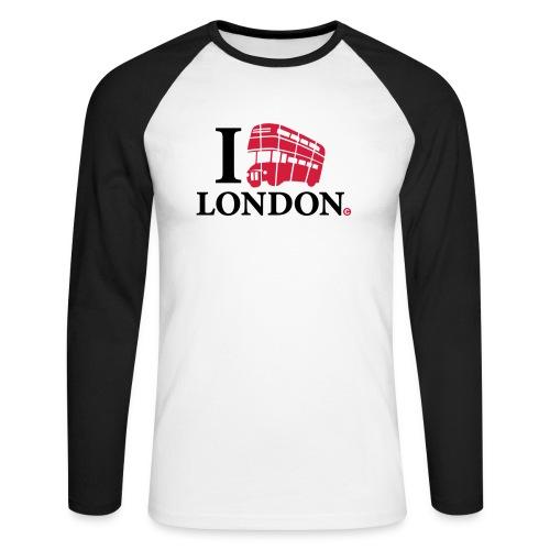 I love (Double-decker bus) London - Men's Long Sleeve Baseball T-Shirt