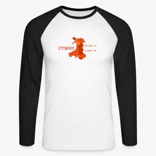 Cymru - Latitude / Longitude - Men's Long Sleeve Baseball T-Shirt