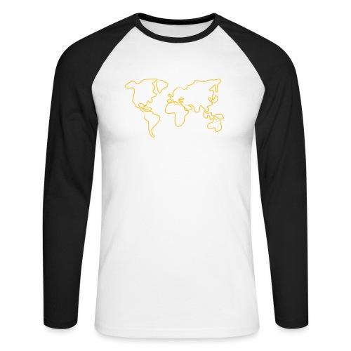 Wereldkaart - Mannen baseballshirt lange mouw