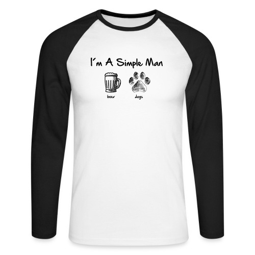 simple man dogs beer - Männer Baseballshirt langarm