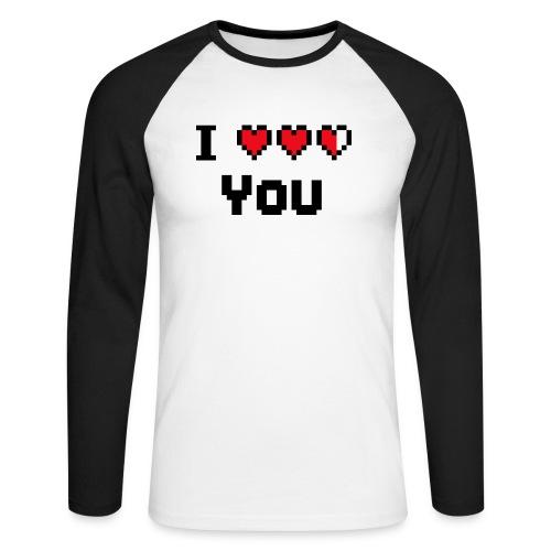 I pixelhearts you - Mannen baseballshirt lange mouw